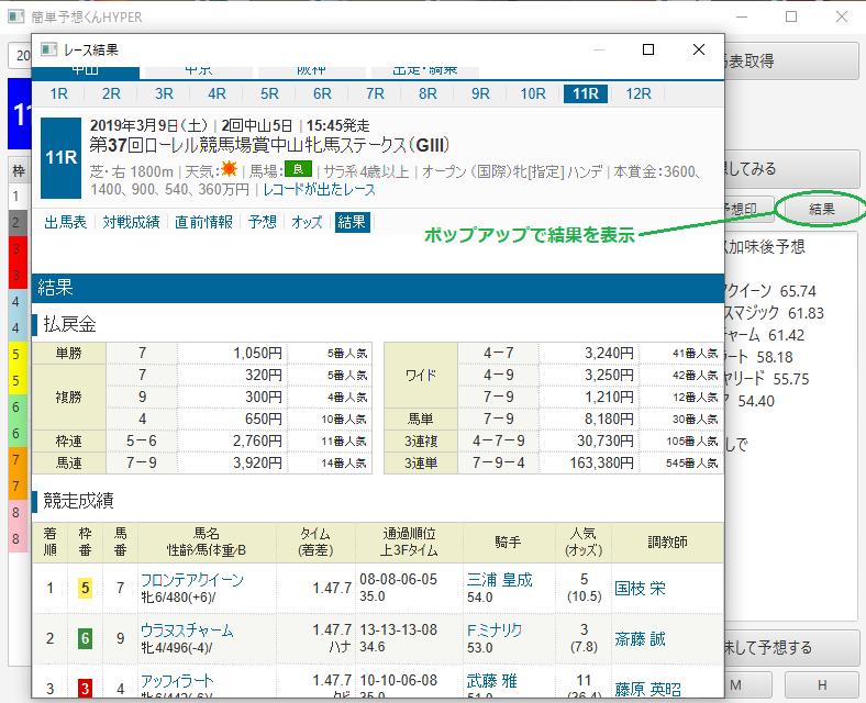 競馬予想ソフト「簡単予想くんHYPER」実行画面3